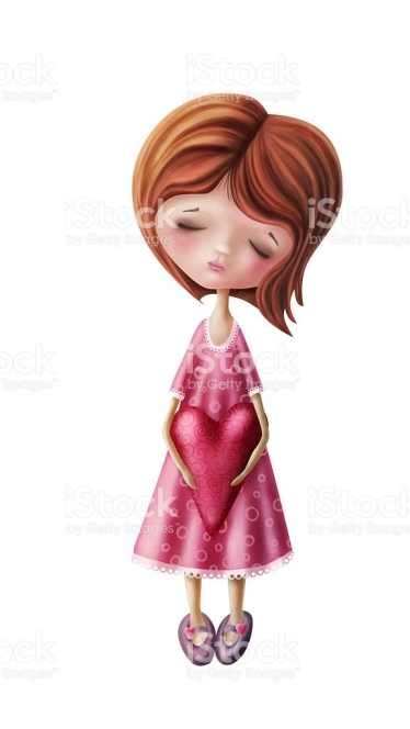 Little fairy girl with heart isolated on a white background